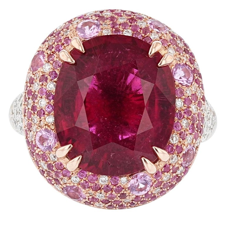 Nazarelle 14 Karat White and Rose Gold Pink GIA Tourmaline Multi-Color Halo Ring For Sale