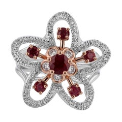 Nazarelle 14 Karat White and Rose Gold Ruby and Diamond Flower Ring