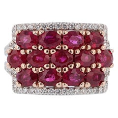 Nazarelle 14 Karat White and Rose Gold Ruby and Diamond Ring