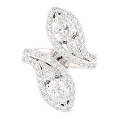 Nazarelle 14 Karat White GIA Certified Double Pear Shaped Diamond Cocktail Ring