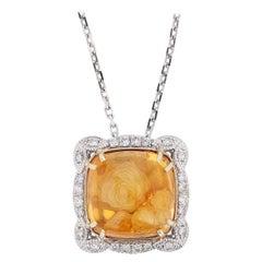 Nazarelle 14 Karat White Gold 39 Carat Cabochon Citrine and Diamond Necklace