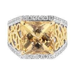 Nazarelle 14 Karat White Gold 5.52 Carat Princess Scapolite and Diamond Ring