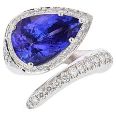 Nazarelle 14 Karat White Gold 7.10 Carat Pear Tanzanite and Diamond Ring