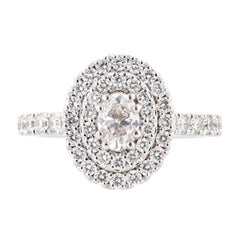 Nazarelle 14 Karat White Gold Double Halo Oval Diamond Engagement Ring