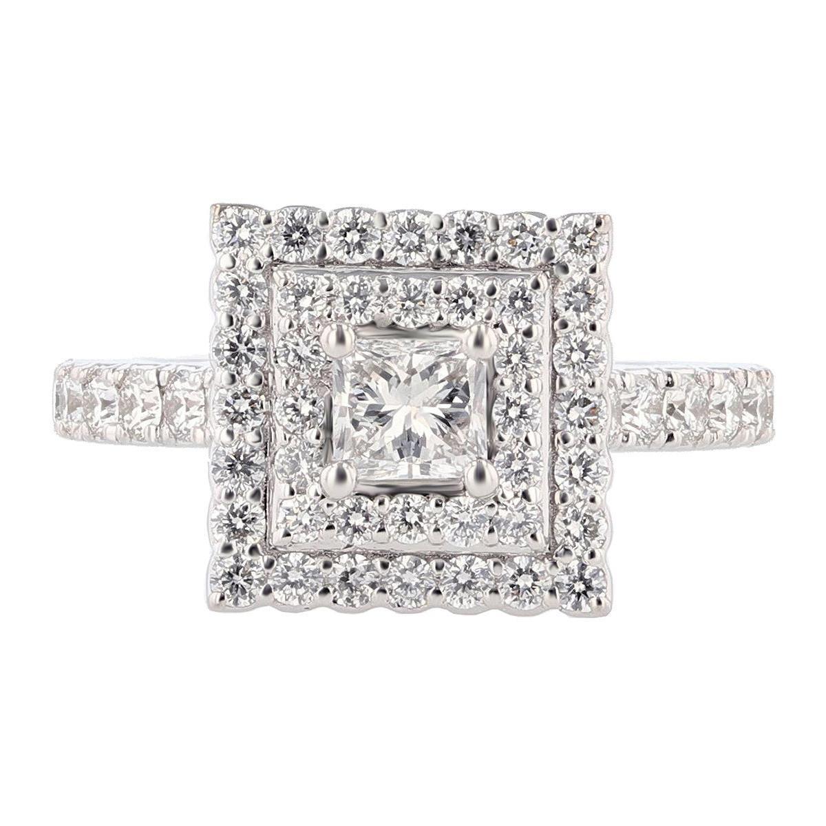 Nazarelle 14 Karat White Gold Double Halo Princess Diamond Engagement Ring