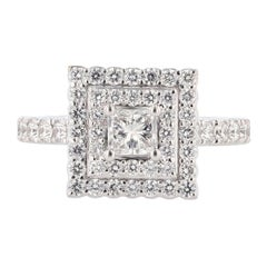 Nazarelle 14 Karat White Gold Double Halo Princess Diamond Engagement Ring