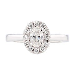 Nazarelle 14 Karat White Gold Oval Cut Diamond Engagement Ring