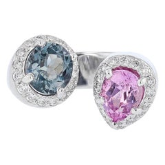 Nazarelle 14 Karat White Gold Pink and Blue Spinel and Diamond Ring
