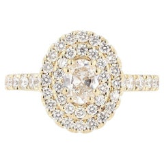 Nazarelle 14 Karat Yellow Gold Double Halo Oval Diamond Engagement Ring
