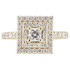 Nazarelle 14 Karat Yellow Gold Double Halo Princess Diamond Engagement Ring