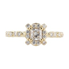 Nazarelle 14 Karat Yellow Gold Princess Cut Diamond Engagement Ring