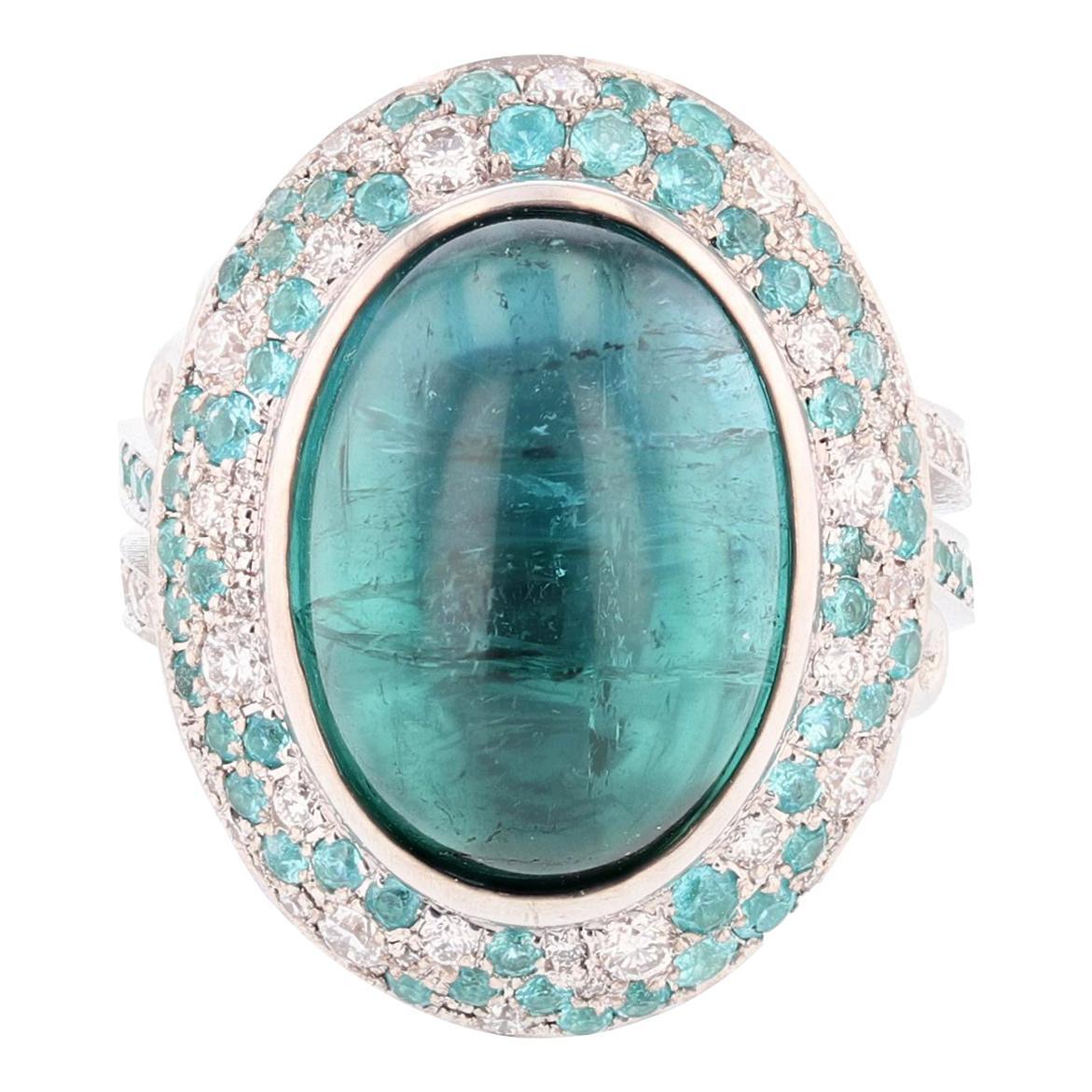Nazarelle 14K W Gold 11.50ct Blue Tourmaline Diamond & Paraiba Tourmaline Ring