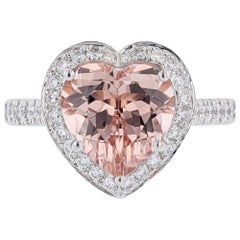 Nazarelle 14k White and Rose Gold 3.75ct Heart Shaped Morganite and Diamond Ring