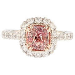 Nazarelle 14K White and Rose Gold Padparadscha Pink Sapphire and Diamond Ring