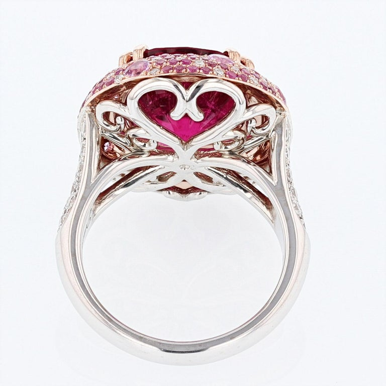 Contemporary Nazarelle 14 Karat White and Rose Gold Pink GIA Tourmaline Multi-Color Halo Ring For Sale