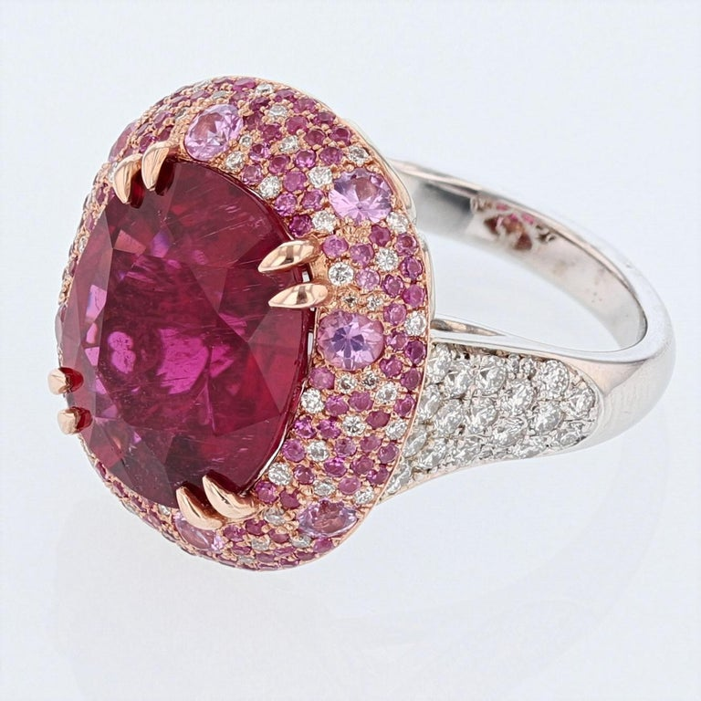 Oval Cut Nazarelle 14 Karat White and Rose Gold Pink GIA Tourmaline Multi-Color Halo Ring For Sale