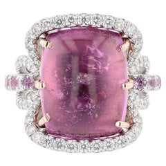 Nazarelle 14K White and Rose Gold Pink Tourmaline Pink Sapphire and Diamond Ring