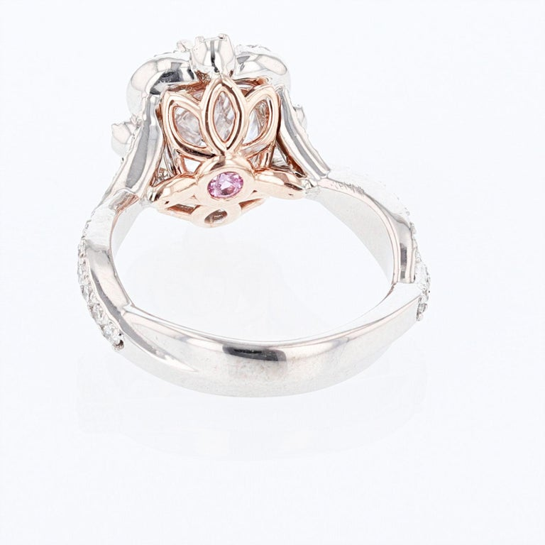 Nazarelle 14 Karat White and Rose Gold Twist Oval Halo Engagement Ring GIA In New Condition For Sale In Houston, TX