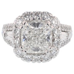 Nazarelle 14k White Gold 3.66ct GIA Cushion Diamond Center 2.14ct Diamond Ring