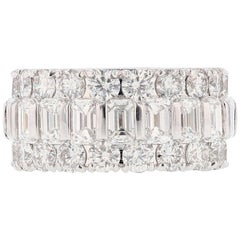 Nazarelle 14K White Gold 9.54 Carat Emerald Cut and Round Diamond Eternity Band