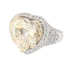 Nazarelle 14k White Yellow Gold 20.49ct No Heat Yellow Sapphire and Diamond Ring