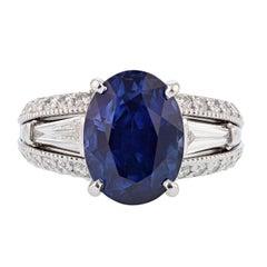 Nazarelle 18 Karat Gold 7.28 Carat Certified Blue Sapphire and Diamond Ring