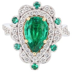 Nazarelle 18 Karat Gold Pear Shape Green Emerald and Diamond Ring