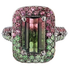 Nazarelle 18 Karat Gold Watermelon Tourmaline, Tourmaline, and Tsavorite Ring
