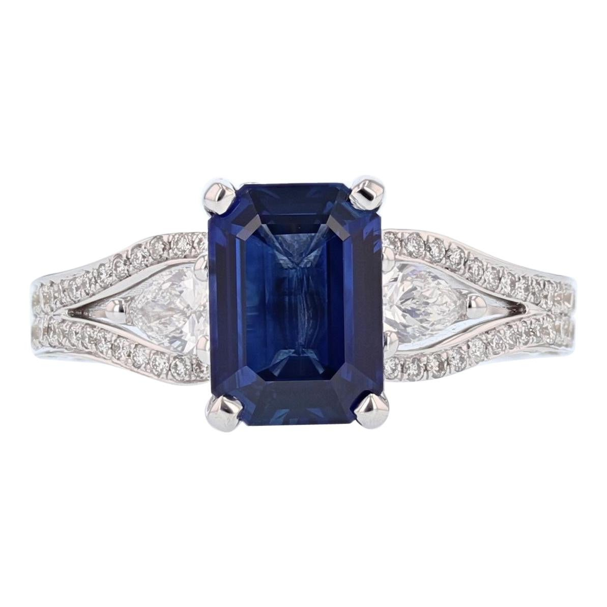 Nazarelle 18 Karat White Gold 2.20 Carat Emerald Cut Sapphire and Diamond Ring