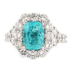Nazarelle 18 Karat White Gold 2.51 Carat GIA Paraiba Tourmaline and Diamond Ring