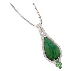 Nazarelle 18 Karat White Gold Cabochon Green Tourmaline and Diamond Necklace