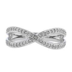 Nazarelle 18 Karat White Gold Criss Cross Diamond Ring