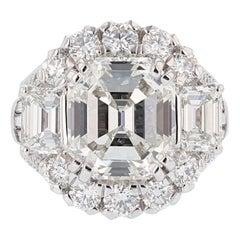 Nazarelle 18 Karat White Gold GIA 8.43 Carat Emerald Cut Diamond Ring