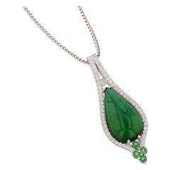 Nazarelle 18 Karat White Gold Pear Cabochon Green Tourmaline Diamond Necklace