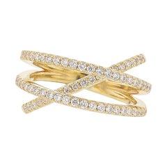 Nazarelle 18 Karat Yellow Gold Diamond Criss Cross Ring
