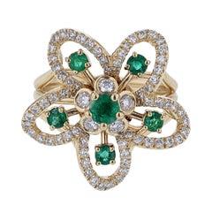 Nazarelle 18 Karat Yellow Gold Emerald and Diamond Flower Ring