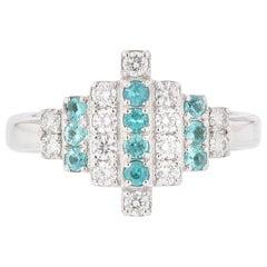 Nazarelle 18 White Gold Paraiba Tourmaline and Diamond Ring