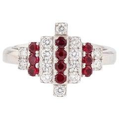 Nazarelle 18 Karat White Gold Ruby and Diamond Ring