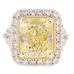 Nazarelle 18K W/Y Gold GIA 10.42ct Fancy Light Yellow Radiant Cut Diamond Ring