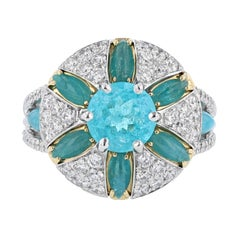 Nazarelle 18K W/Y Gold GIA Brazilian 1.41ct Paraiba Tourmaline and Diamond Ring