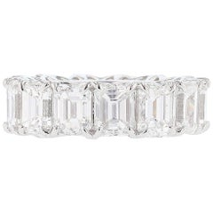 Nazarelle 18KW Gold GIA Certified 14.57 Carat Emerald Cut Diamond Eternity Band