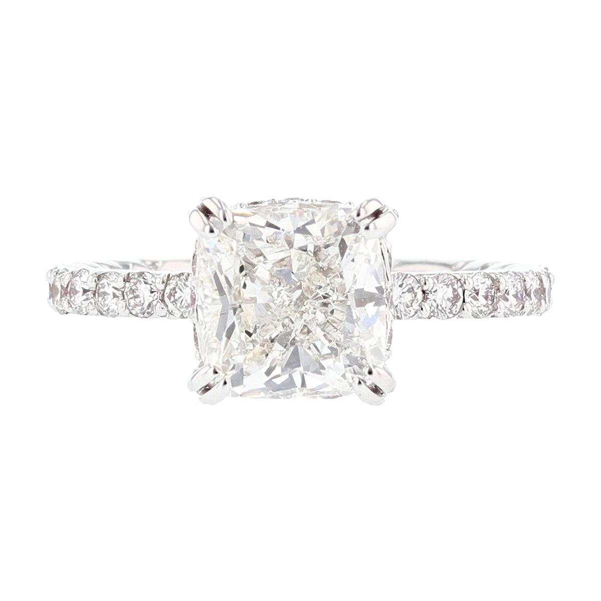 Nazarelle GIA Certified 2.70 Carat Cushion Cut Diamond Engagement Ring