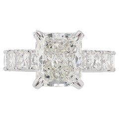 Nazarelle GIA Certified 5.13 Carat Radiant Cut Diamond Engagement Ring