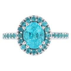 Nazarelle GIA Certified Brazilian Paraiba Tourmaline Diamond Cocktail Ring