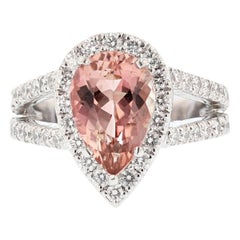 Nazarelle Platinum 3.22 Carat Pear Shaped Pink Tourmaline Diamond Ring