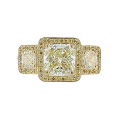 Nazarelle Platinum and 18 Karat Yellow GIA Gold Light Fancy Yellow Diamond Ring