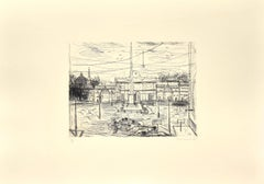 Roma, Piazza Del Popolo - Original Etching by N. Gattamelata - Late 20th Century