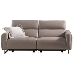 Nazaro Beige Leather 2-Seater Sofa