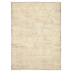 Nazmiyal Collection Beige Geometric Modern Moroccan Rug. 10 ft 1 in x 13 ft 10in