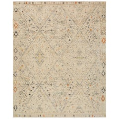 Nazmiyal Collection Beige Modern Boutique Rug 8 ft x 10 ft